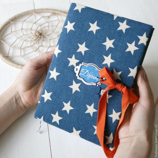 Синий блокнот ручной работы со звездами