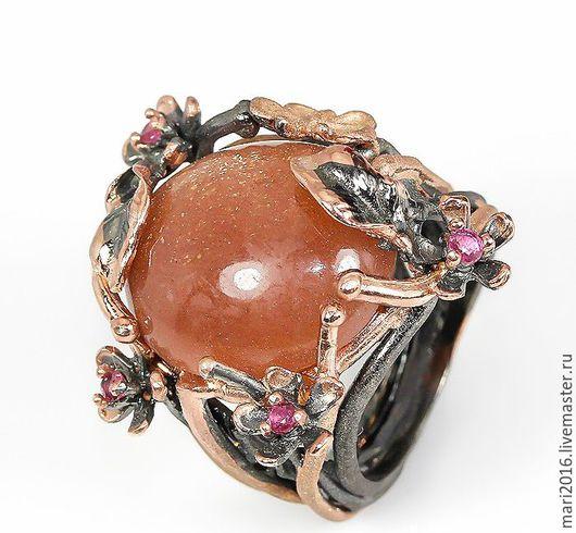 """Кольца ручной работы. Ярмарка Мастеров - ручная работа. Купить Эксклюзивное кольцо """" Стефания""""  рубины и солнечный камень серебро.. Handmade."""
