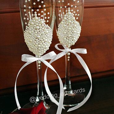 Свадебный салон ручной работы. Ярмарка Мастеров - ручная работа Свадебные бокалы Жемчужины. Handmade.