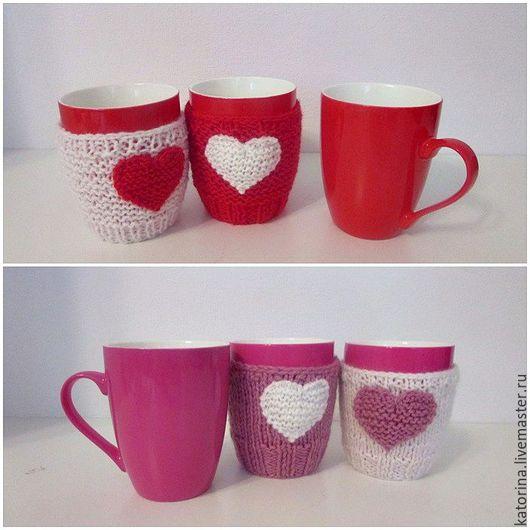 Внимание! Чашка однотонная и чашка с одним сердечком - 650/1 шт.  Комплект из двух кружек в вязаном чехле - 1200 руб.  Внимание! Чашка  с двумя сердечками - 750/1 шт.  Комплект из двух кружек в вязано