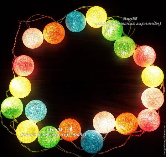 """Освещение ручной работы. Ярмарка Мастеров - ручная работа. Купить """"Пастельная радуга"""", светящаяся гирлянда из хлопковых шаров. Handmade. Комбинированный"""