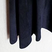 Одежда handmade. Livemaster - original item Skirt made of genuine leather in dark blue color. Handmade.