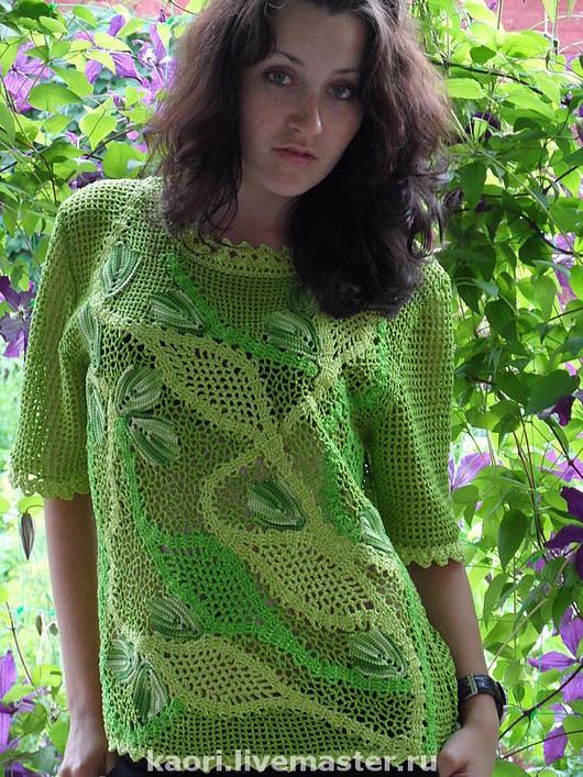 Блузки ручной работы. Ярмарка Мастеров - ручная работа. Купить Блузочка ЗЕЛЕНУШКА  Авторская работа. Handmade. Ярко-зелёный, модно