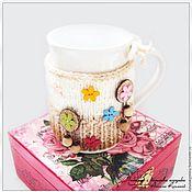 """Для дома и интерьера ручной работы. Ярмарка Мастеров - ручная работа Одежка для кружки """"Цветочный"""". Handmade."""