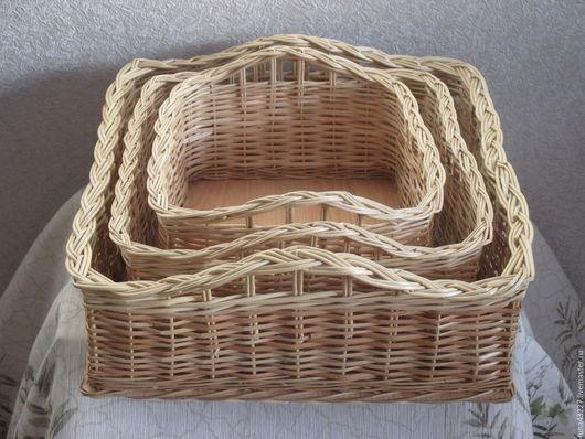 Корзины, коробы ручной работы. Ярмарка Мастеров - ручная работа. Купить Набор плетеных квадратных коробов из натуральной лозы. Handmade.