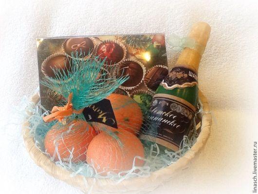 Мыло ручной работы. Ярмарка Мастеров - ручная работа. Купить Новогодний набор с конфетами. Handmade. Оранжевый, шампанское, Новый Год