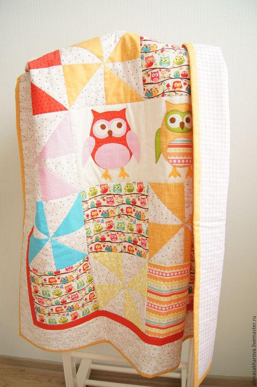 Лоскутное одеяло `Совушки`. Лоскутные пледы и одеяла.  Ручная работа. Ярмарка мастеров. Мастер Сахарова Алена