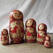 Русский стиль handmade. Livemaster - original item matryoshka five-seater. Walk in the woods.Mezen painting.. Handmade.