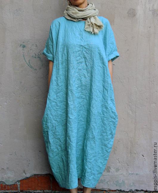 Платья ручной работы. Ярмарка Мастеров - ручная работа. Купить Льняное платье. Handmade. Голубой, свободный силуэт, заказать платье