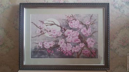Картины цветов ручной работы. Ярмарка Мастеров - ручная работа. Купить Ветка сакуры. Handmade. Белый, ночь, подарок, канва
