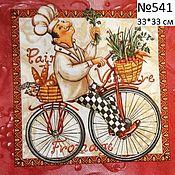 Материалы для творчества ручной работы. Ярмарка Мастеров - ручная работа 541. Салфетка для декупажа.  Повар на велосипеде. Handmade.