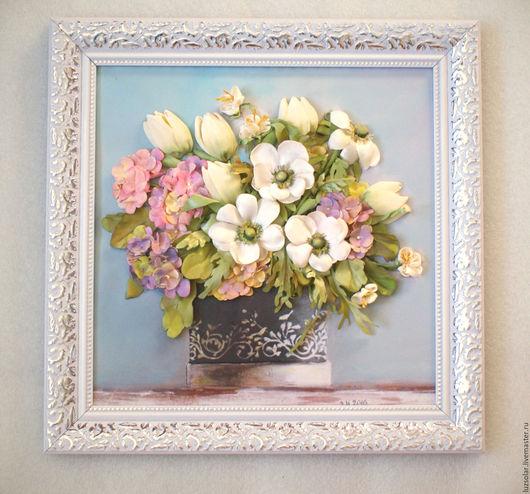 Картины цветов ручной работы. Ярмарка Мастеров - ручная работа. Купить Картина вышитая лентами Букет с анемонами 38 х 38 см. Handmade.