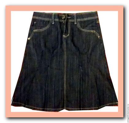 Одежда. Ярмарка Мастеров - ручная работа. Купить Юбка винтаж Джинсовая. Handmade. Тёмно-синий, стильная юбка