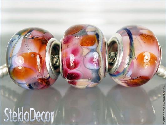"""Бусины пандора ручной работы. Ярмарка Мастеров - ручная работа. Купить Комплект бусин """"Розовые кораллы"""" авторский лэмпворк. Handmade."""