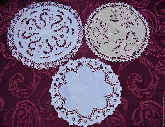 Винтажные предметы интерьера. Ярмарка Мастеров - ручная работа. Купить Старинная льняная салфетка с ручной вышивкой, Франция. Handmade.