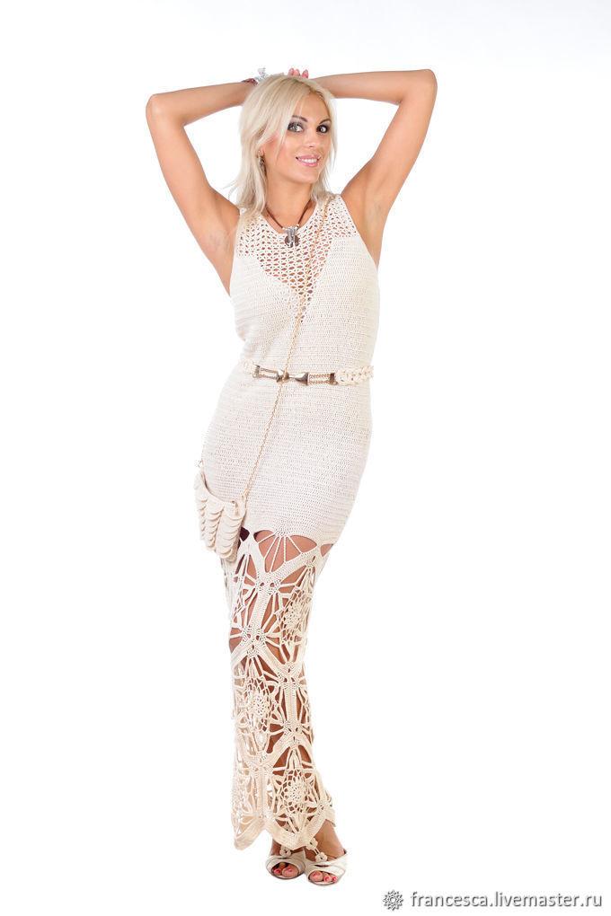 Crochet Boho Evening Maxi Silk Dress. Luxury Crochet Bohemian Dress, Dresses, Florence,  Фото №1