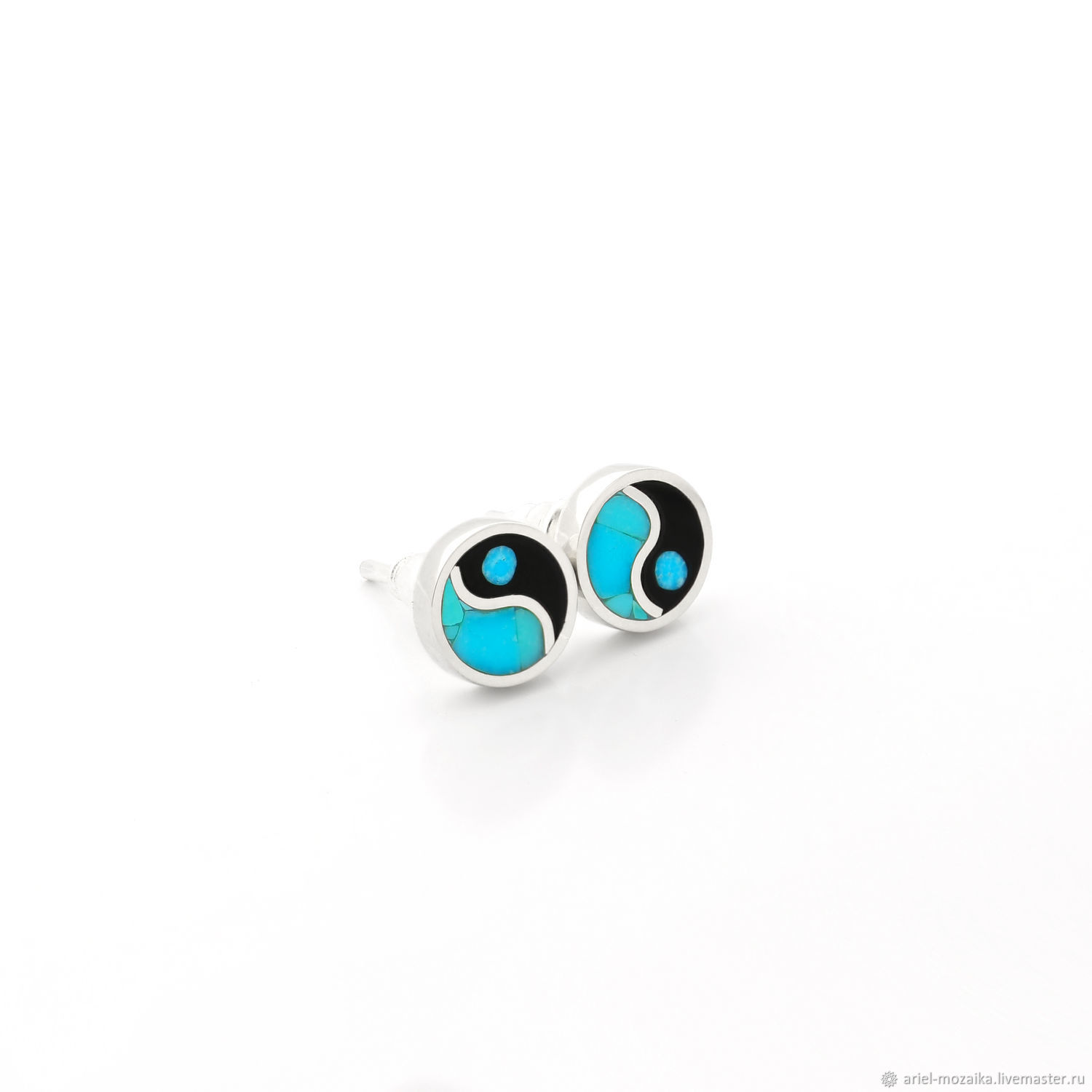 Yin-Yang EARRINGS with Turquoise. Small handmade stud earrings, Stud earrings, Moscow,  Фото №1