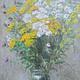 Картины цветов ручной работы. Полевые цветы в стеклянной вазе... AllaRo. Интернет-магазин Ярмарка Мастеров. Лето, тысячелистник, Живопись