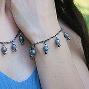 Украшения handmade. Livemaster - original item Garnet chain bracelet in 925 sterling silver with hand-minted VA0006. Handmade.
