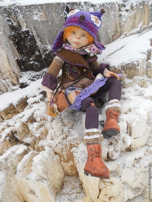 """Коллекционные куклы ручной работы. Ярмарка Мастеров - ручная работа. Купить Кукла """"Совунья"""". Handmade. Фиолетовый, зима, бохо стиль"""