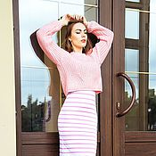 Одежда handmade. Livemaster - original item Sweater knitted with the effect of Push Up from KESLOVE pink. Handmade.