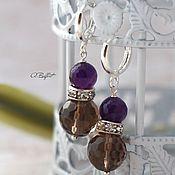 Украшения handmade. Livemaster - original item silver plated earrings with amethyst and Topaz
