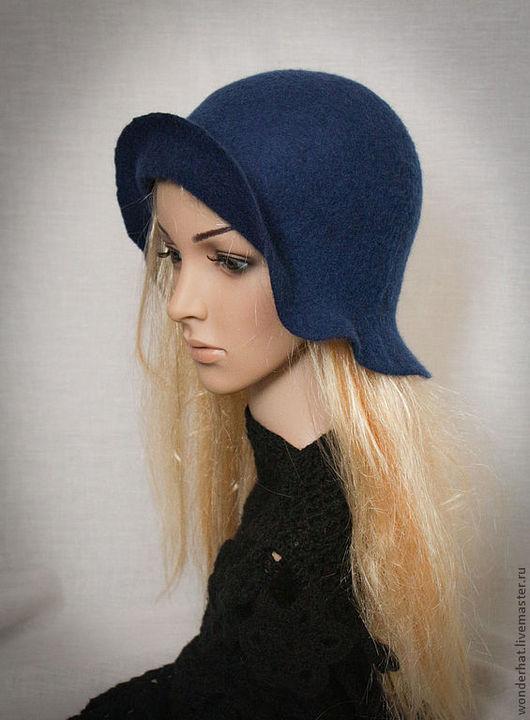 """Шляпы ручной работы. Ярмарка Мастеров - ручная работа. Купить Шляпка """"Лори"""". Handmade. Тёмно-синий, шляпа с большими полями"""