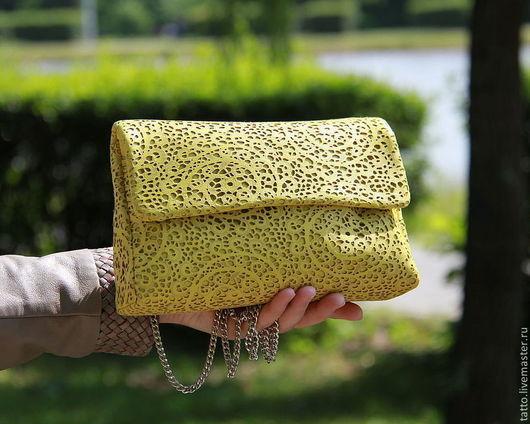 Женские сумки ручной работы. Ярмарка Мастеров - ручная работа. Купить Кожаный клатч    - Ница (  желтый лайм ). Handmade.