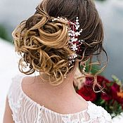 Свадебный салон ручной работы. Ярмарка Мастеров - ручная работа Гребень невесты цвета марсала с добавление розовых оттенков. Handmade.