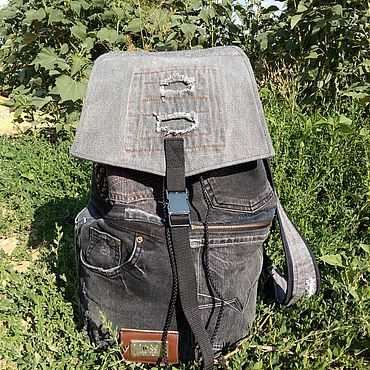 Bags and accessories handmade. Livemaster - original item Trash denim backpack. Handmade.