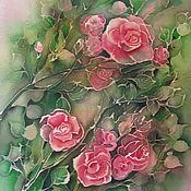 Картины и панно ручной работы. Ярмарка Мастеров - ручная работа Батик-панно Розы 50х50. Handmade.