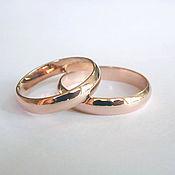 Свадебный салон ручной работы. Ярмарка Мастеров - ручная работа Классические обручальные кольца из красного золота. Handmade.