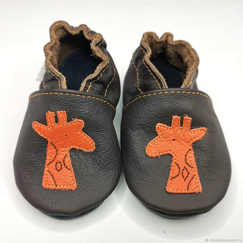 Giraffe Baby Shoes, Moccasins,  Ebooba, Dark Brown Shoes, Handmade, Footwear for childrens, Kharkiv,  Фото №1