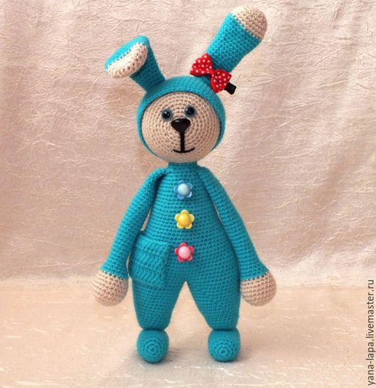 """Игрушки животные, ручной работы. Ярмарка Мастеров - ручная работа. Купить Вязаная игрушка """"Зайка в пижамке"""". Handmade. Разноцветный, игрушка"""