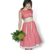 Одежда ручной работы. Ярмарка Мастеров - ручная работа Платье в красный горошек. Handmade.