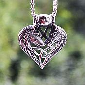 Украшения handmade. Livemaster - original item Pendant Wolves with trikvetr from jewelry steel. Handmade.
