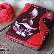 Кошельки ручной работы. Ярмарка Мастеров - ручная работа Кожаный кошелек «Красный котенок». Handmade.