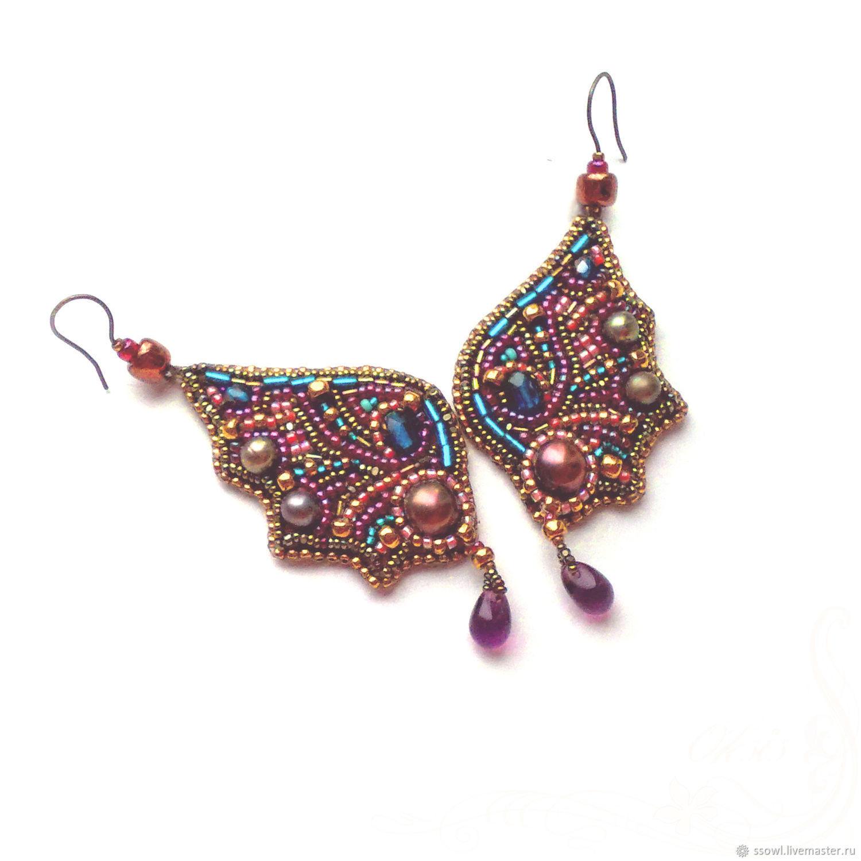 Earrings butterfly Wings Burgundy. Pink pearls, drop pendants, beads, Earrings, Bryansk,  Фото №1