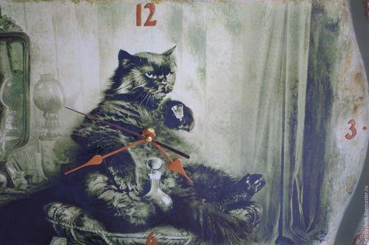 """Часы для дома ручной работы. Ярмарка Мастеров - ручная работа. Купить Часы настенные """"Кот Бегемот"""". Handmade. Оливковый, кот"""