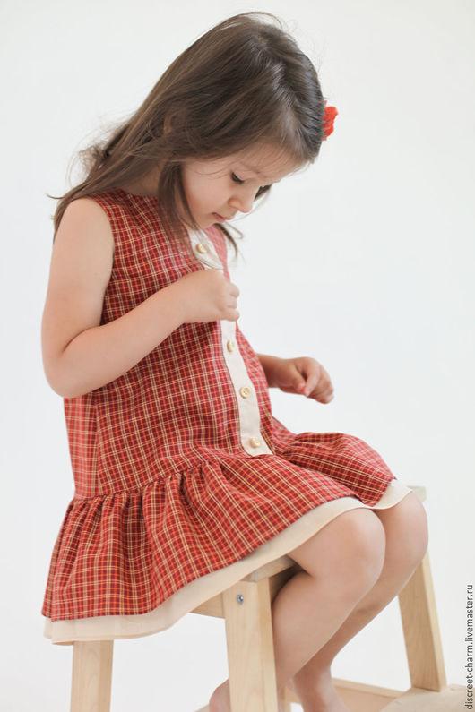 Одежда для девочек, ручной работы. Ярмарка Мастеров - ручная работа. Купить Оранжевое клетчатое летнее детское платье без рукавов на пуговицах. Handmade.