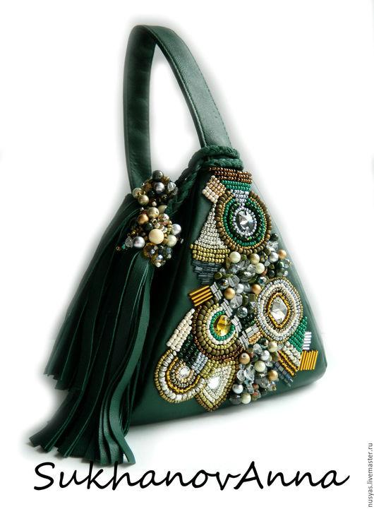 """Женские сумки ручной работы. Ярмарка Мастеров - ручная работа. Купить Сумка """"Тёмная зелень"""". Handmade. Тёмно-зелёный"""