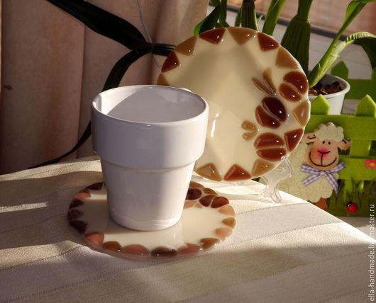 Кухня ручной работы. Ярмарка Мастеров - ручная работа. Купить Подставки под горячее стеклянные фьюзинг Кофе со сливками. Handmade.