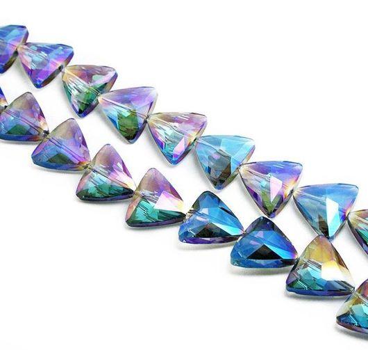 Для украшений ручной работы. Ярмарка Мастеров - ручная работа. Купить Бусины треугольник (Shine blue). Handmade. Бусины, бусина