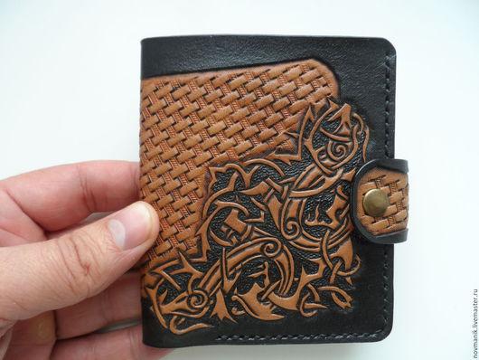 Кошельки и визитницы ручной работы. Ярмарка Мастеров - ручная работа. Купить Портмоне (кошелек, бумажник) двойного сложения (Bi-fold wallet) № 18. Handmade.