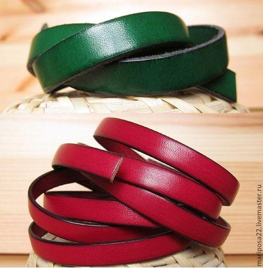 Для украшений ручной работы. Ярмарка Мастеров - ручная работа. Купить Шнур 10х2 кожаный, зеленый и красный. Handmade. Кожа