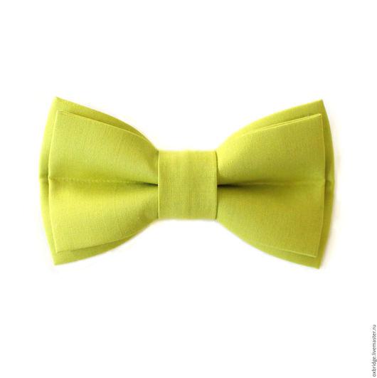 Галстуки, бабочки ручной работы. Ярмарка Мастеров - ручная работа. Купить Галстук-бабочка Грязный лимон светло-зеленый из хлопка. Handmade.