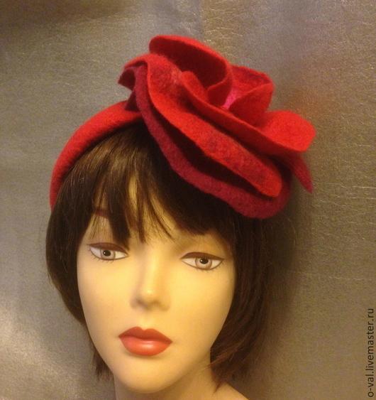 Шляпы ручной работы. Ярмарка Мастеров - ручная работа. Купить ХАБАНЕРА. Handmade. Ярко-красный, головной убор для женщин