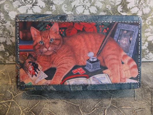 """Шкатулки ручной работы. Ярмарка Мастеров - ручная работа. Купить Купюрница """"Джинсовый кот"""" (шкатулка для денег). Handmade. Купюрница"""