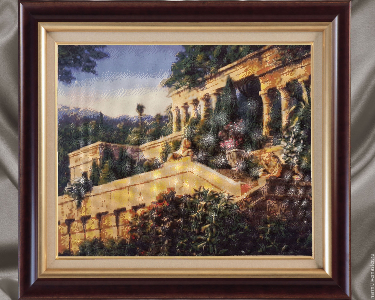 Colonnade of lions. Diamond painting