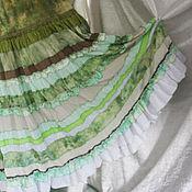 """Одежда ручной работы. Ярмарка Мастеров - ручная работа """"СВЕЖЕСТЬ"""" Юбка оливкового цвета летняя,длинная,многоярусная. Handmade."""
